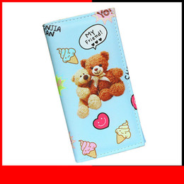 Ladies Wallet Patterns Australia - Lady Purses Women Wallets Cartoon Coin Purse Blue Color Bear Pattern Moneybags Cards Id Holder Handbags Clutch Female Wallet Bag