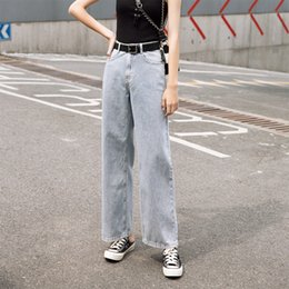 $enCountryForm.capitalKeyWord Australia - Idopy Fashion Womens Loose Fit Jeans Vintage Washed Thin Denim Wide Leg Pants Summer Female Jean Trousers For Women