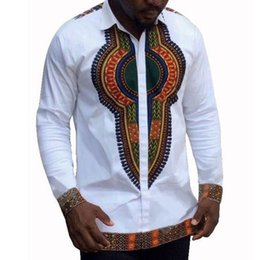 $enCountryForm.capitalKeyWord Australia - Men's Top Shirt Male New Wear Lapel Collar Shirt Printed Single-row Button-down Long-sleeved Shirt National African Clothing Top