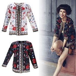 ladies floral print jackets NZ - Vintage 3 4 Sleeve Ethnic Floral Printed Short Outwear Baby & Kids Clothing Coat Ladies Thin Jacket Outwear S-2XL Size