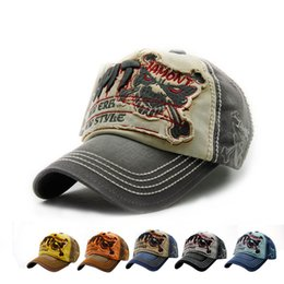 Skull Cap Ball Australia - Quality Designer Curved Washed Denim Baseball Caps Letters Embroidery Skull Cotton Sports Hats Adjustable Strapback For Adults Mens Womens