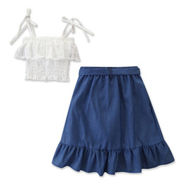 China summer kids outfits clothes girls 2019 childrens boutique clothing baby girl suspenders tops white lace t shirts + ruffle skirts 2pcs sets suppliers