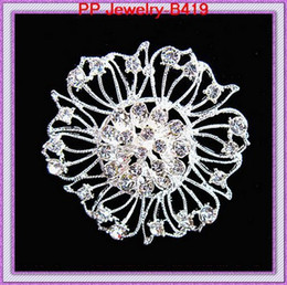 brooch flower needle UK - Plate With Silver Crystal Drill Set Flower Brooch Brooch Ma'am Sweater Clothes & Accessories Accessories Lead Needle Jewelry