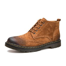 Vintage Lace Up Boots UK - Genuine Leather Men Boots Autumn Winter Ankle Boots Fashion Footwear Lace Up Shoes Men High Quality Vintage Men Shoes
