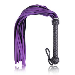 Genuine Leather Whip Australia - Sweet Magic Purple Weave Long Queen Whip Genuine Leather Pimp Whip Riding Crop Party Bdsm Sex Toys for Woman