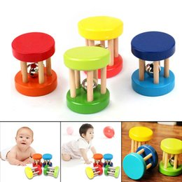 Handbell gifts online shopping - baby rattle Colorful Baby Rattle Toys Kids Wooden Ring Bell Toy Children Intellectual Developmental Educational Handbell Shaker Gifts Random