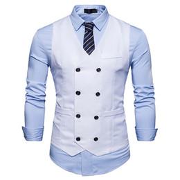 $enCountryForm.capitalKeyWord NZ - Mens Double Breasted Suit Vest 2019 Brand New Slim Fit Waistcoat Vest Men Party Wedding Tuxedo Dress Gilet Costume Homme