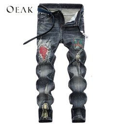 plus size destroyed jeans Australia - Oeak Patchwork Destroyed Ripped Jeans for Men Casual Trousers Male Stretch Denim Pants Plus Size Streetwear moda hombre 2018