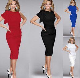 $enCountryForm.capitalKeyWord UK - Casual Dress for Women Elegant Ruffle Sleeve Girl Knee Length Ruched Evening Party Stretch Lady Simple Wed Slim Pencil Sheath Bodycon Dress