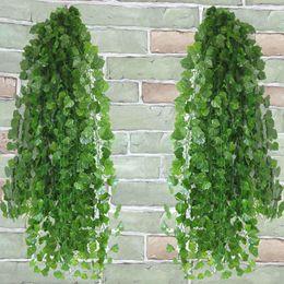 $enCountryForm.capitalKeyWord Australia - 12pcs lot Artificial Ivy Leaf Garland Fake Plants Vine Fake Foliage Artificial Flowers Creeper Green Ivy Wreath Home Decor D T8190626