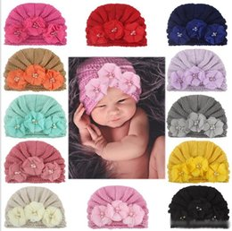 knitted childrens spring hats UK - Childrens American Style Ins Soft Knitting Hats Girls Winter Fashion Four Pearls Flower Hat Kids Hair Accessories