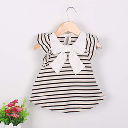 BaBy sailor suits online shopping - Baby Girl sailor suit Dress Girl Summer Cotton Striped Bow Dress Infant Clothing Birthday for Baby Girls Months