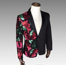 Men S Long Wedding Suit Australia - Rose Flowers Red Green Sequins Slim S-4XL Men Suit Jacket Nightclub Male Singer Outfit Wedding Performance Evening Party Blazer #556109