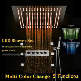 concealed shower set Australia - Bathroom conceal led rain shower set with 400x400mm electric embeded big shower head + 6 pcs massage jets and brass hand shower head