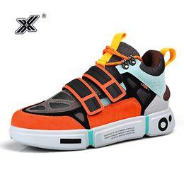 X Brand Fashion Outdoor Orange Platform Men Shoes for Couples Microfiber Colorful High top Men Sneakers Zapatillas Hombre 2020 on Sale