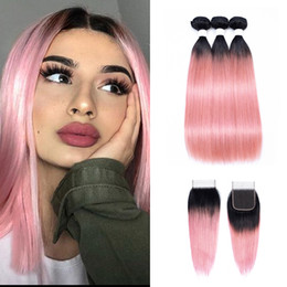 1b Pink Human Hair Australia - 1B Pink Rose Gold Ombre Straight Human Hair Bundles With Closure Brazilian Virgin Hair 3 Bundles With 4x4 Lace Closure Remy Hair Extensions