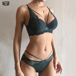 Wholesale panties gathered resale online - Green Underwear Set Women Bra Push Up Three Quarters Brassiere Cotton Set Black Gather Panties Sets Embroidery Lace Lingerie Thick