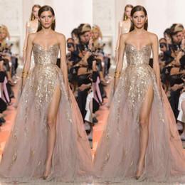Robe soiRee cRystal online shopping - Sexy Gold Applique A Line Prom Dresses Sweetheart High Side Split Evening Dress Women Formal Party Gown Wear Vestido Robe De Soiree