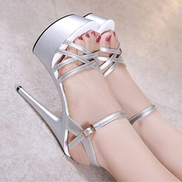 red sandals size 34 NZ - 15cm silver gladiator sandals summer slides sexy women high heels bride wedding shoes size 34 to 40