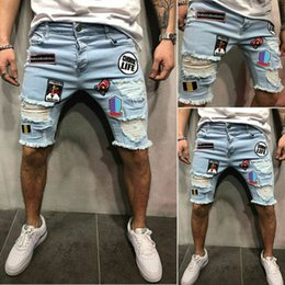 plus größe ausgefranst shorts denim großhandel-Männer zerrissene dünne kurze Jeans im Used atmungsaktive Hose elastische beiläufige Blue Jeans ausgefranste Slim Fit Denim Male Pants Plus Size