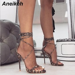 $enCountryForm.capitalKeyWord Australia - Aneikeh Fashion 2019 Summer Women's Sandals Pu Lace-up Thin High Heels Cover Heel Shallow Mature Serpentine Dance Solid 35-40 Y190706