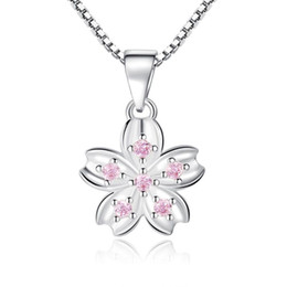 $enCountryForm.capitalKeyWord Australia - Luck Four Leaf Clover Pendants Cherry Blossom Peach Flower Necklaces Pink Purple Cubic Zirconia Necklace Women e278