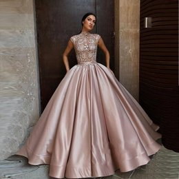Dusty pink evening gowns online shopping - Dusty Rose Quinceanera Dresses Ball Gowns High Neck Appliques Lace Sweet Dress Plus Size Formal Evening Gowns BC1196