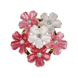 pink brooches wholesale UK - Luxurious New Fashion Wild Pink And White Flower Brooch For Women Clothing Accessories Clothes Jewelry Gifts Scarf b312
