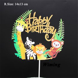 $enCountryForm.capitalKeyWord Australia - baby kids party birthday cake topper jungle animals decoration party supplies giraffe zebra lion monkey happy birthday topper