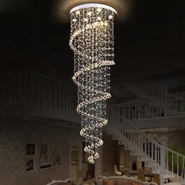 long big pendants Australia - Spiral Chandelier Lead Glass Crystal Large Long Big Stairs Pendant Lamp Modern E052