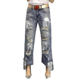 women velvet clothes Australia - Denim Jean Women Wide Leg Pants Loose Clothes New Fashion Casual Hole Tassel With Sequined Ripped Jeans