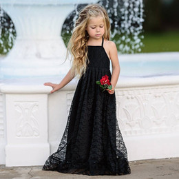 embroidered kids clothes NZ - Girls Dress Kids Clothes Summer Suspender Backless Solid Embroidered Lace Skirt Child Kids Beach Dress Princess Dress Hot Q135