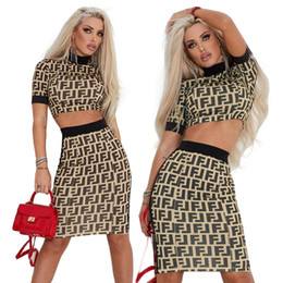 Night Clubs Clothes NZ - Fashion Designer Letter Printed Dresses Sexy Female Night Club 2pcs Bodycon Dress Panelled Party Clothing