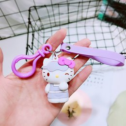f096e49fd Cute Purple Cat Hello Kitty Doll Keychain Leather Rope Key Ring Holder  Animal Key Chain Keyring Charm Bag Car Pendant Gift