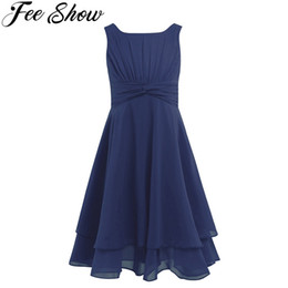 4-14Y Hot Selling Navy Blue Toddler Girls Chiffon Knotted Waist Ruched Flower Girl Summer Dress Mint Green kids clothes 6colors