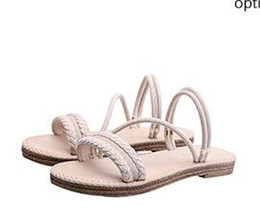 Two Pairs Shoes Australia - Flat bottom sandals female summer 2019 new wild Korean version of the leather wear a pair of shoes wearing two cool slippers