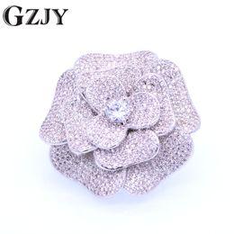 $enCountryForm.capitalKeyWord UK - GZJY Vintage Flower Inlay Zircon White Gold Color Brooches Pendant versatility Jewelry For Women Wedding Bridesmaid Brooch Pin