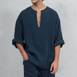 Wholesale linen men shirts resale online – 3 Colors Mens Designer T Shirts Fashion Linen T shirt Loose Trumpet Long Sleeve T Shirt Casual Clothes M XL