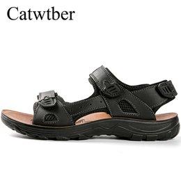 $enCountryForm.capitalKeyWord NZ - Catwtber Outdoor Men's Sandals Flat Summer High Quality Walking Shoes Beach Flats Causal Shoes Super Fiber Fashion Rubber Sole