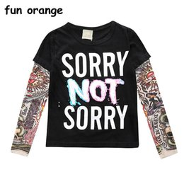 tattoo tees NZ - Fun Orange Boy Clothes Cotton T-shirt Long Sleeve Children Tee Shirts Novelty Tattoo Sleeve Baby Girl Tops Autumn Kids Top