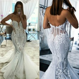 cheap red coral beads UK - Mermaid Wedding Dresses Sexy Strapless Sleeveless Full Appliqued Lace Beaded Boho Bridal Dress Backless Sweep Train Robes De Mariée Cheap