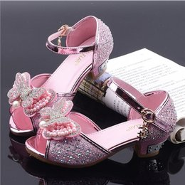 9ad3a889c Children s sandals 2019 summer new Korean girls high heel big boy fish  mouth shoes bow crystal princess shoes
