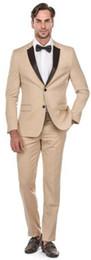 Beige Color Suits Australia - Hot Selling Beige Custom Made Tuxedos Notch Lapel Men's Suits Prom Suits Groomsmen Mens Wedding Suits (Jacket+Pants+Tie)
