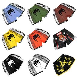 muay thai clothing NZ - Hot MMA Shorts Mens Boxing kickboxing shorts Fightwear MMA Kick Boxing Fight Trunks Top New Black Tiger Muay Thai boxing clothing