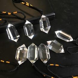 Опт Творческий Высокое Качество Природный Кристалл Кварц Кулон Исцеление Драгоценных Камней Кристалл Ожерелья Прозрачный Цвет Шестиугольная Кристалл Колонна Маятник