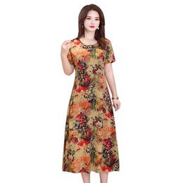 middle age summer dresses UK - Summer Dress Women Short Sleeve Loose Long Dress New 2019 Plus Size 5xl Print Middle-aged Cotton Party Dresses Elegant Vestidos Y19053001