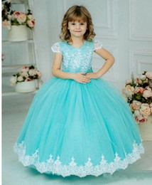 lace flower girl dresses designs Australia - Well-Designed Ball Gowns For Special Occasion Puffy Tulle Flower Girl Dress with Lace Appliques Bow Beading Short Sleeves
