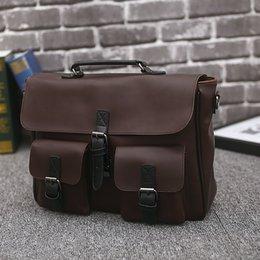 $enCountryForm.capitalKeyWord Canada - Business Men's Briefcase High Quality Buckle PU Leather Shoulder Bag 14 Inch Laptop Bag Portable Brown