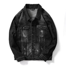Korean Motorcycle Jacket Australia - Spring Denim Jacket Mens Windbreaker Black Biker Motorcycle Jackets Autumn Coats Korean Tops Slim Fit Male Clothing High Quality