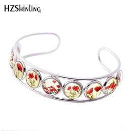poppies painted flowers 2019 - 2019 New Red White Flower Poppy Cuff Bracelet Poppies Painting Bracelets Hand Craft Photo Glass Cabochon Jewelry cheap p